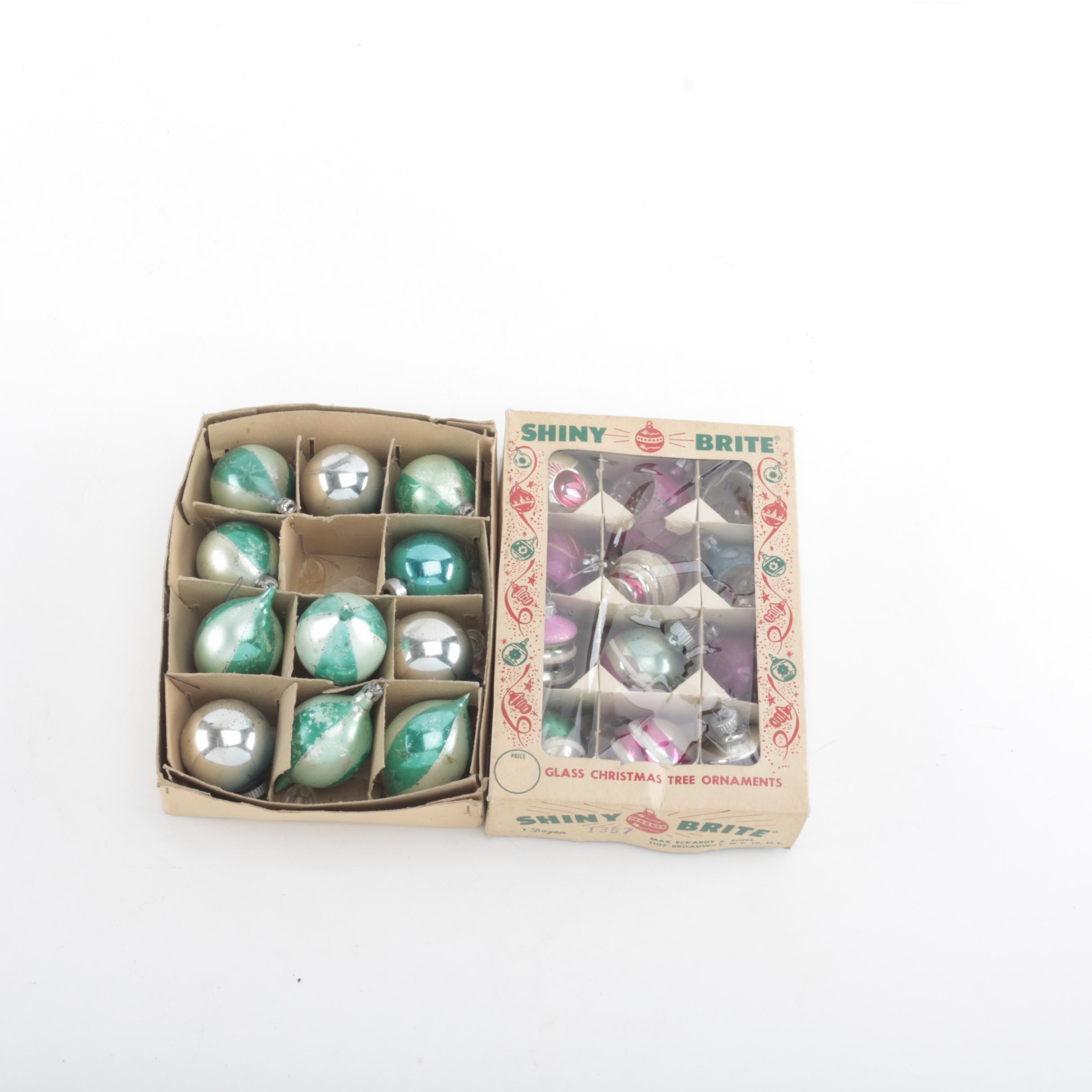Vintage Christmas Holiday Ornaments Including Shiny Brite