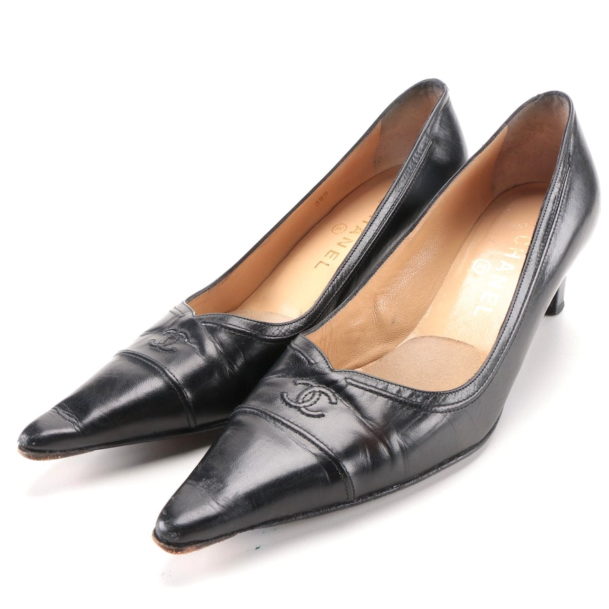 Chanel Black Leather Pointed Toe Pumps