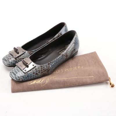 Donald J Pliner Patent Leather Snakeskin Print Flats
