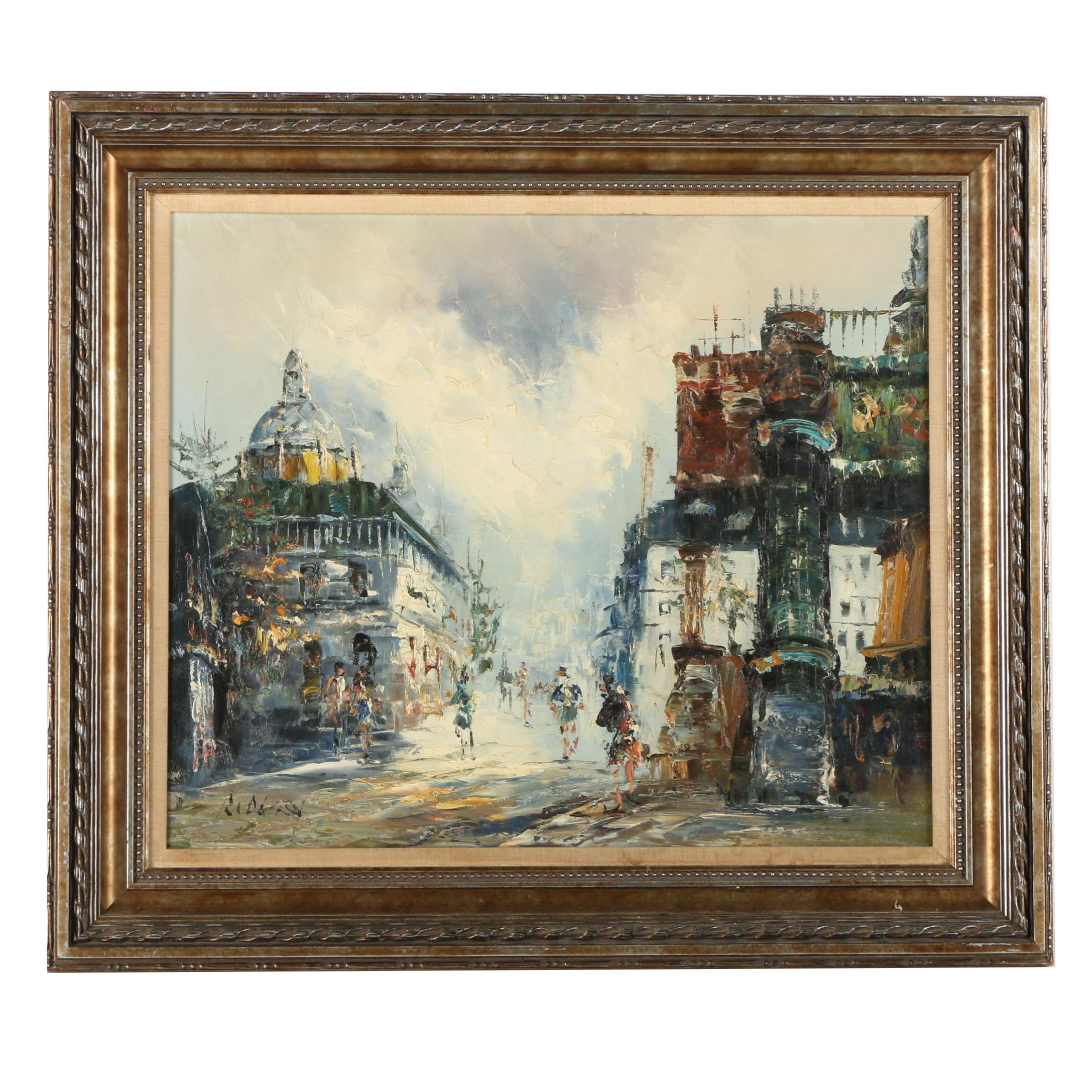 Oil Painting on Canvas of a European City