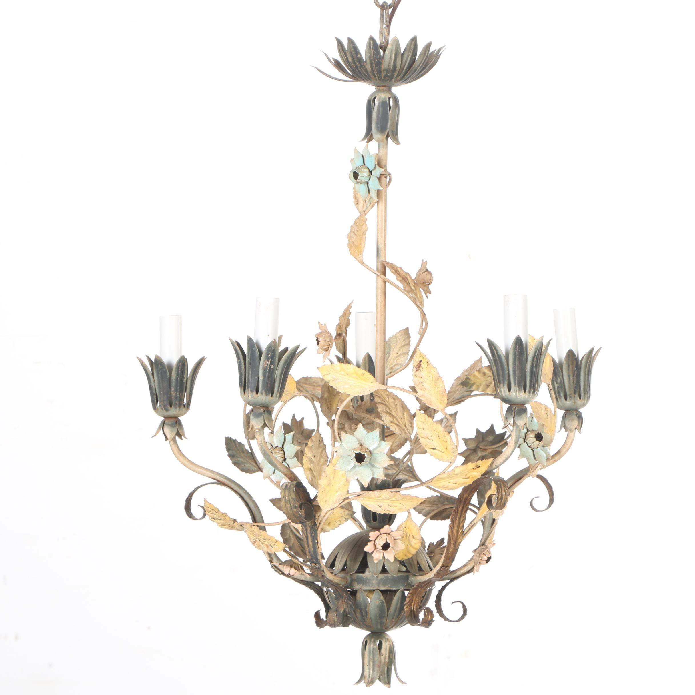Vintage Painted Tole Floral Chandelier