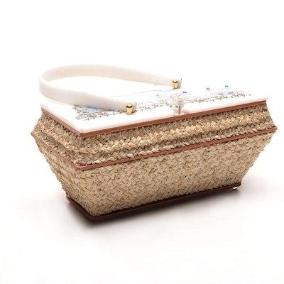 Circa 1950s Leslie of Miami Painted Woven Box Purse
