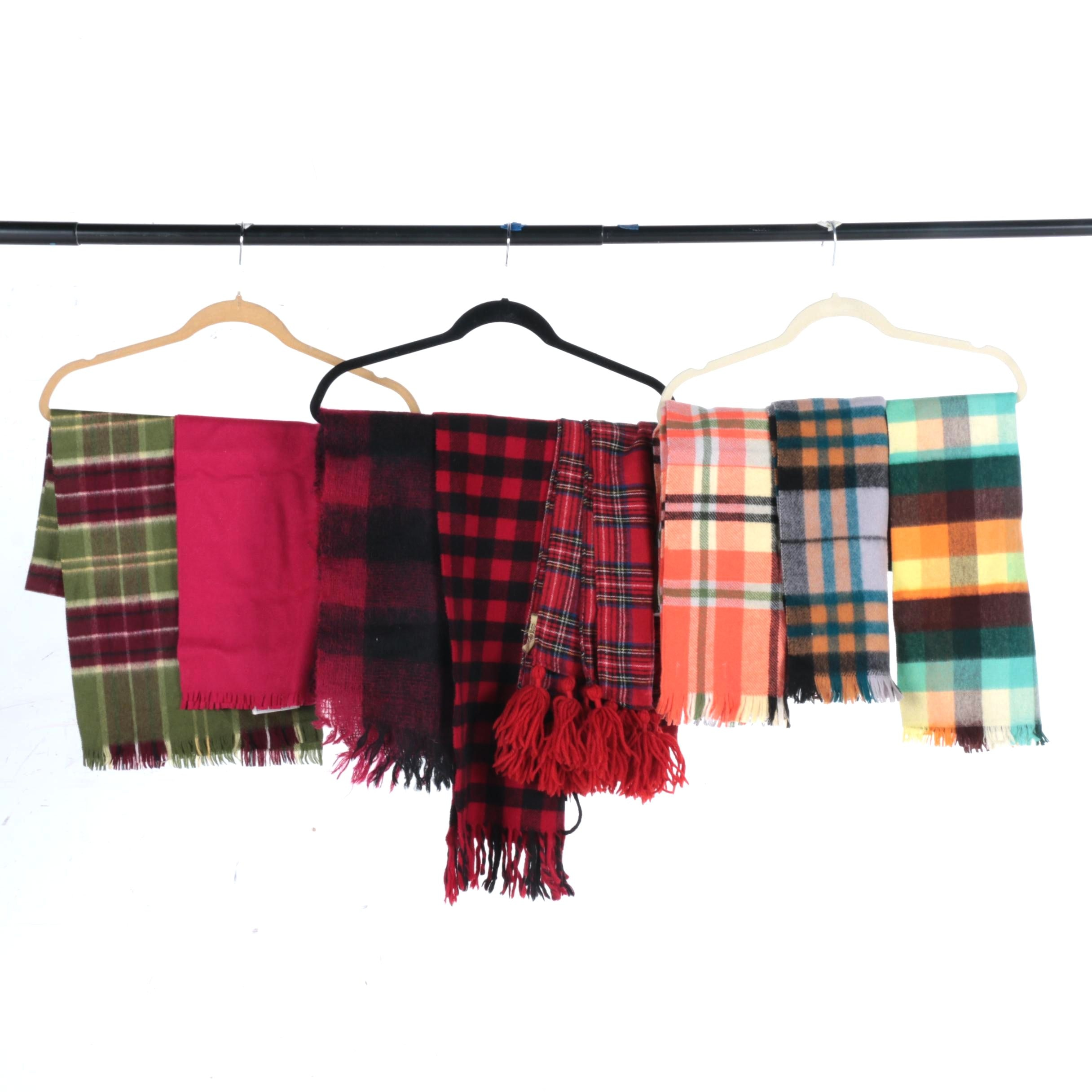 Collection of Vintage Wool Scarves Including Carson Pirie Scott & Co.