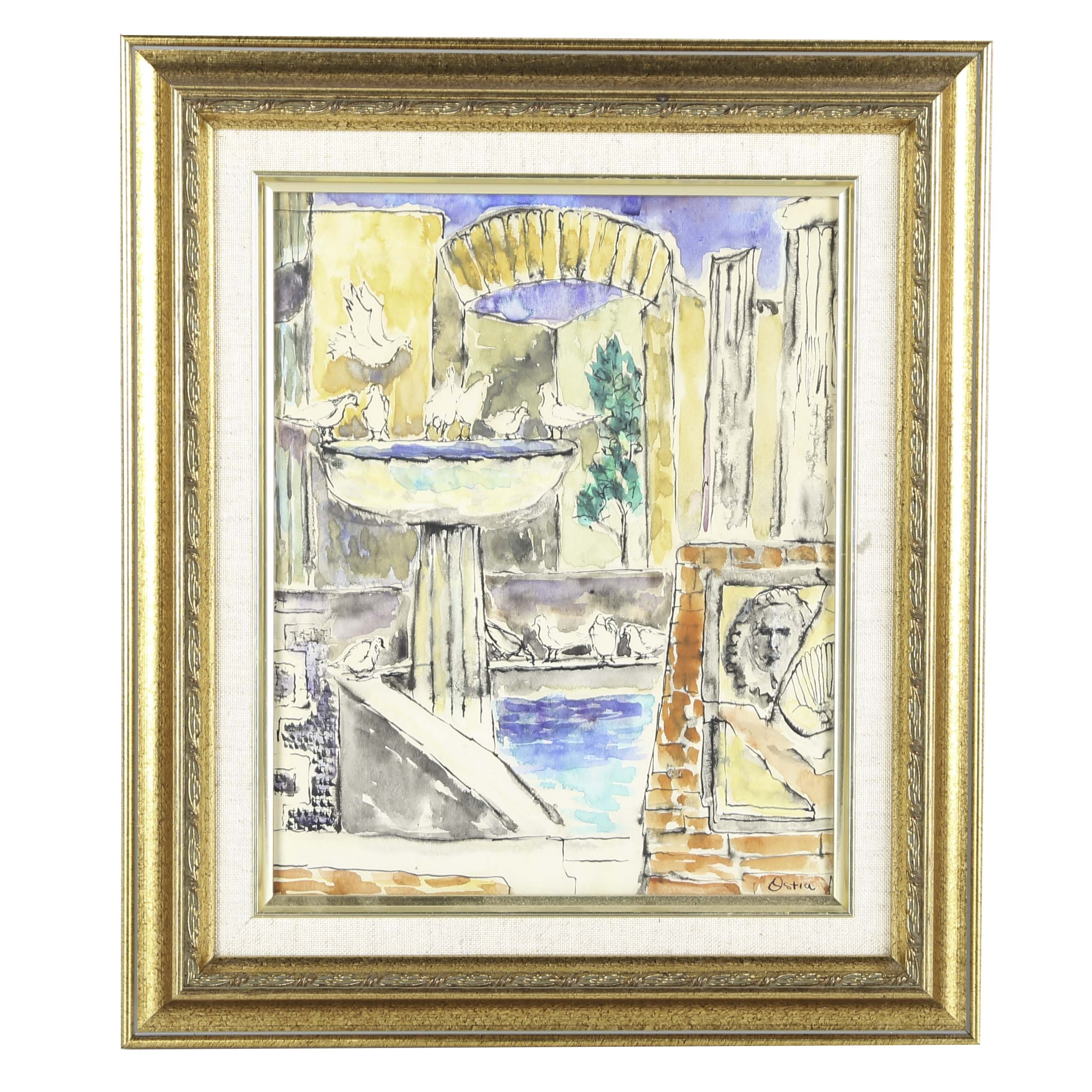 """Keenan Shute Original Watercolor on Paper """"Ostia"""""""