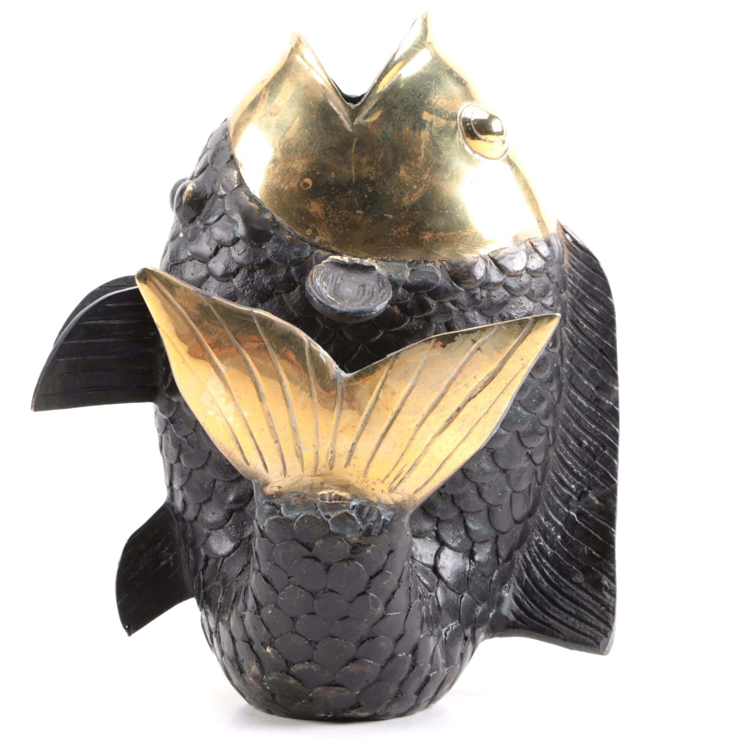 Bronze and Black Fish Vase