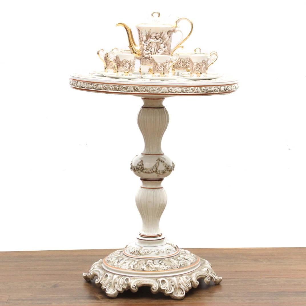 Italian R. Capodimonte Porcelain Espresso Service with Stand