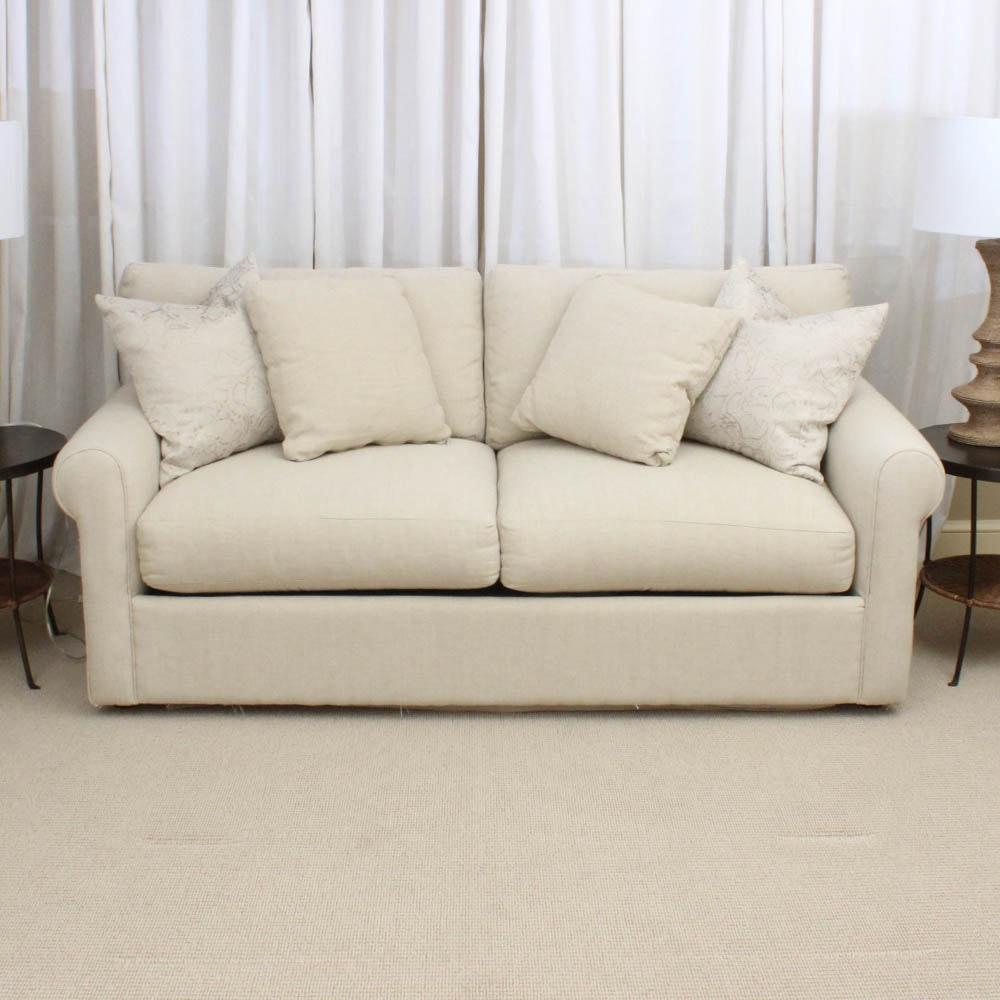 Linen Upholstered Full Size Sleeper Sofa