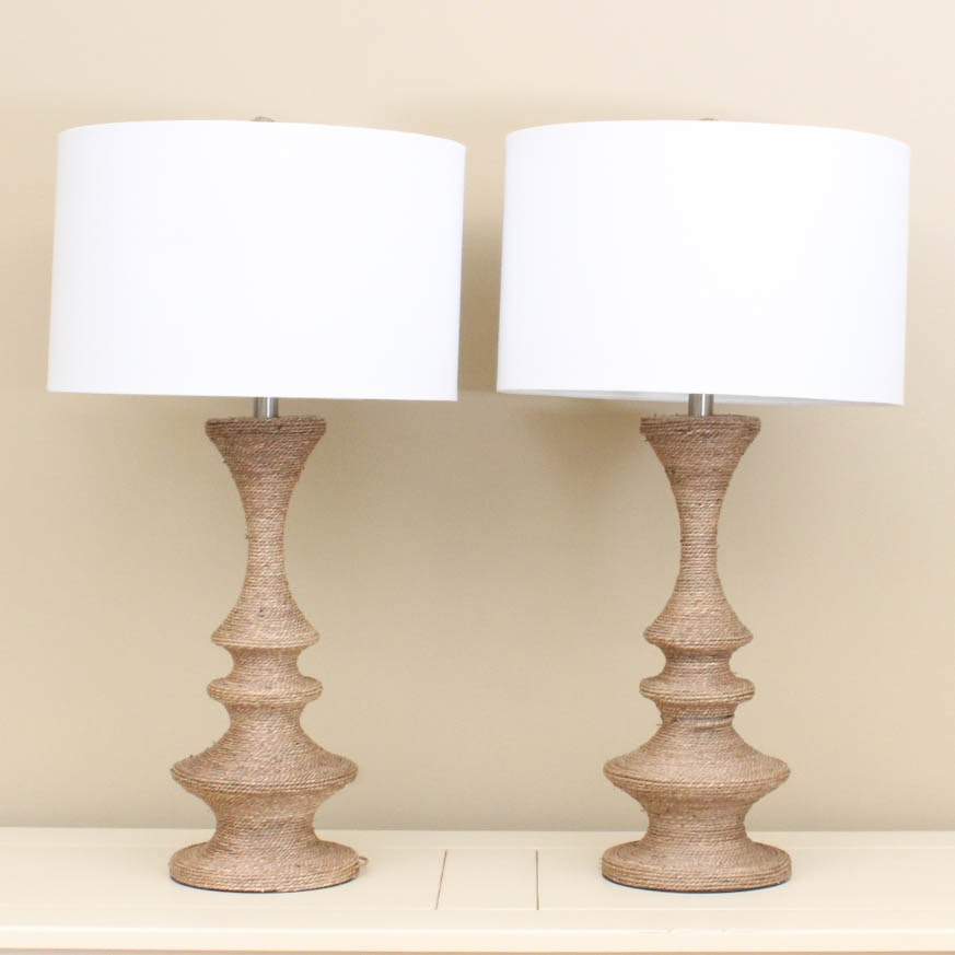 Rope Wrapped Table Lamp Pair