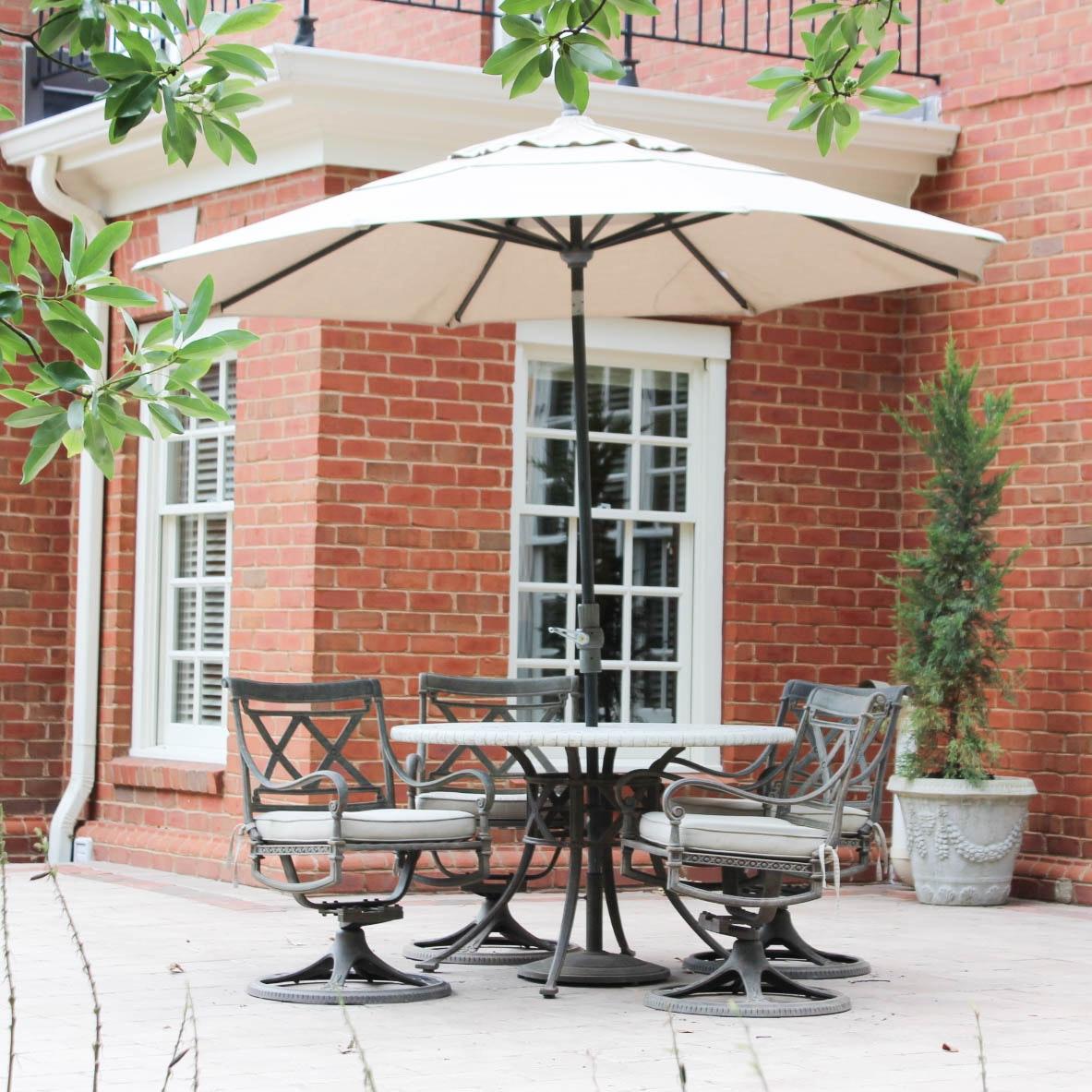 Woodard Landgrave Patio Dining Set with Umbrella