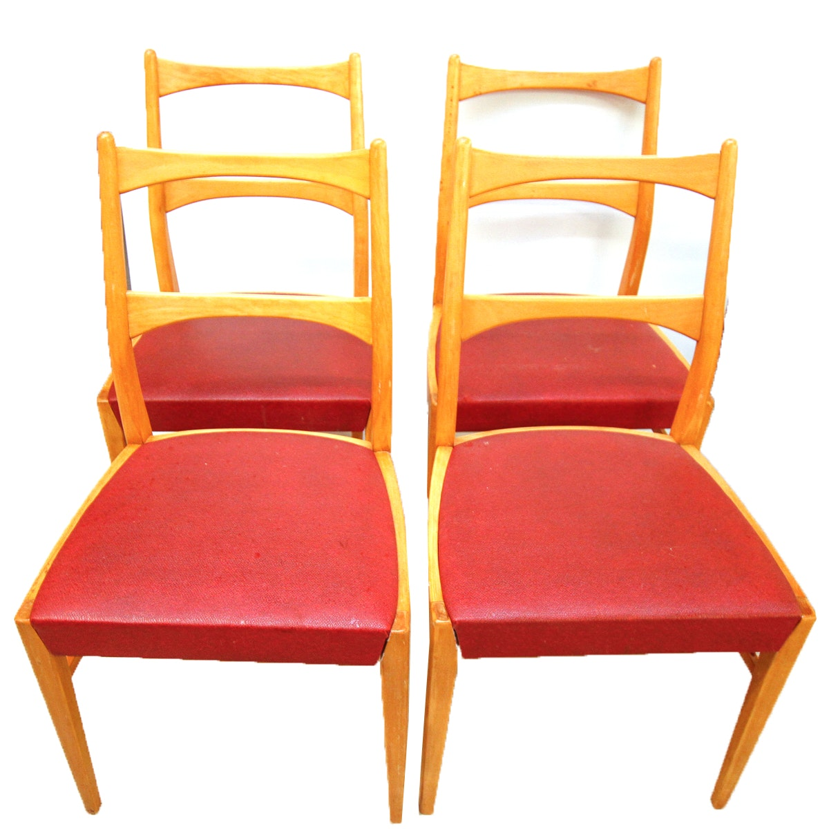Danish Modern Beech Chairs With Red Vinyl Seats ...