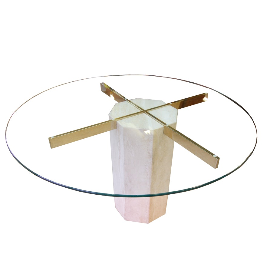Modernist Round Glass Top Dining Table With Marble Base