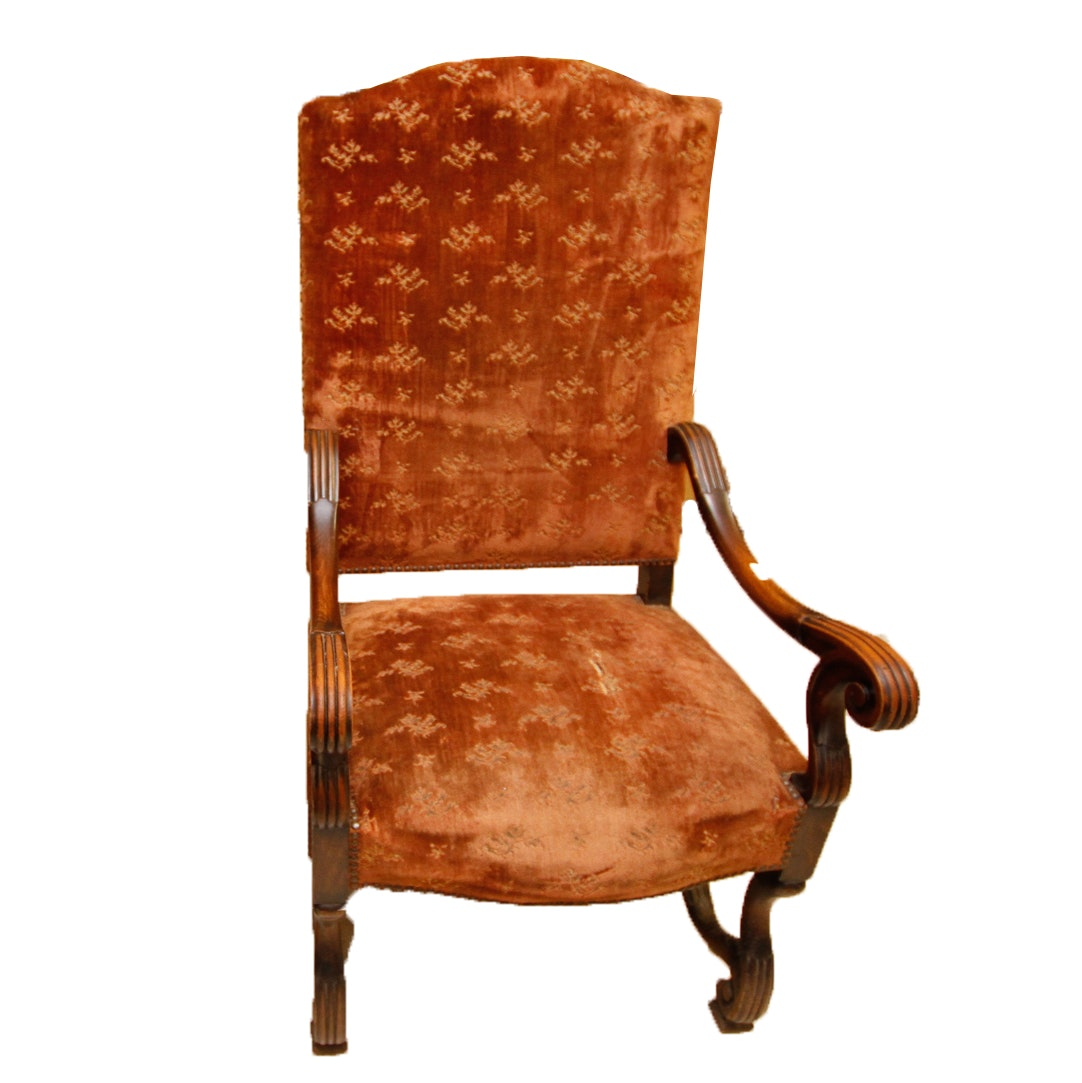 Victorian Style Armchair with Brown Floral Upholstery