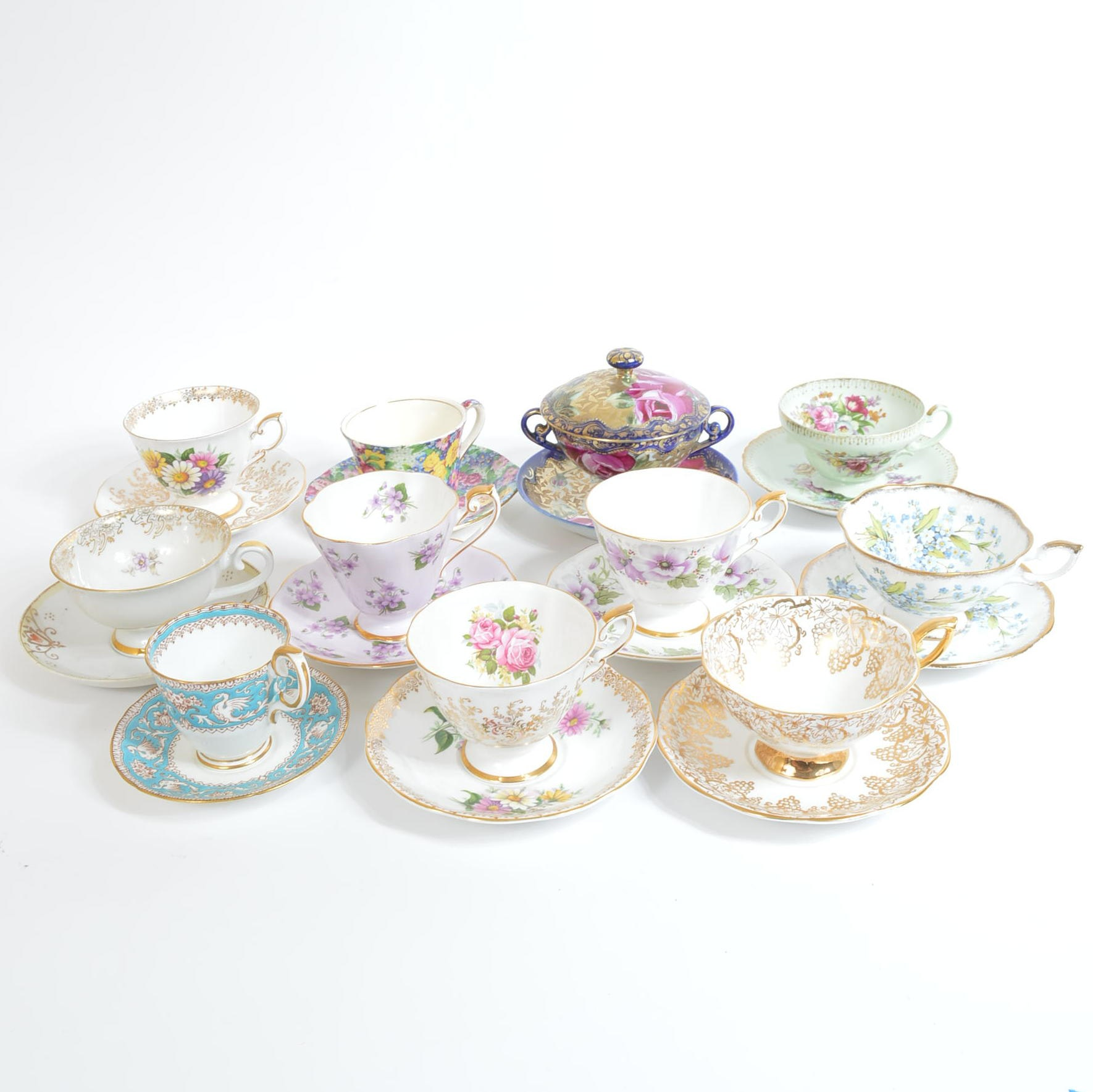 Assortment of Teacups and Saucers