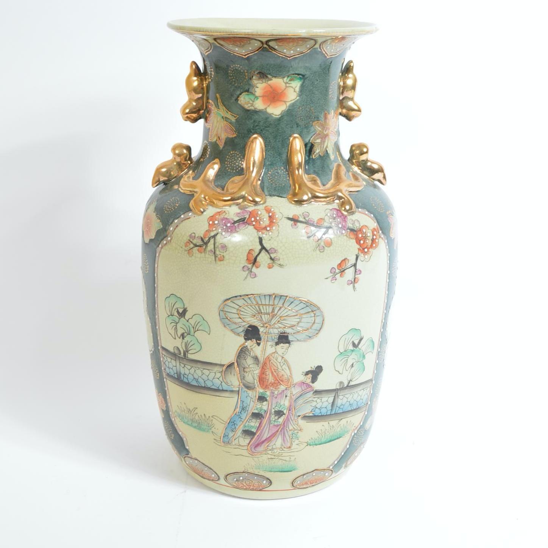 Vintage Chinese Satsuma Style Hand Painted Vase
