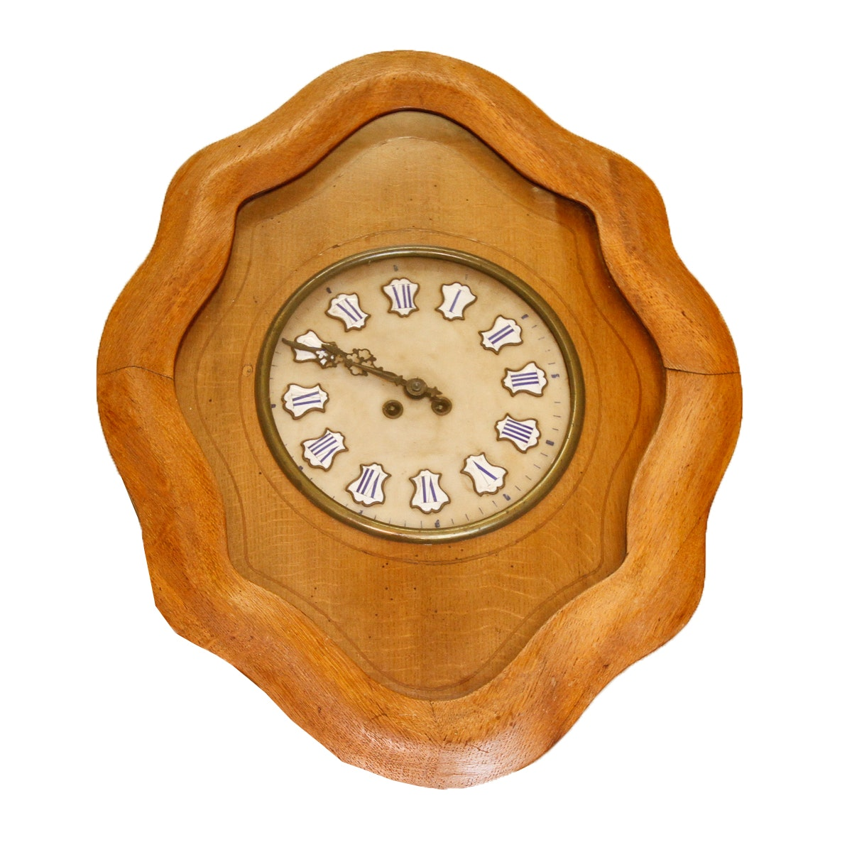Antiqued Wall Clock with Hand Painted Enamel Accents