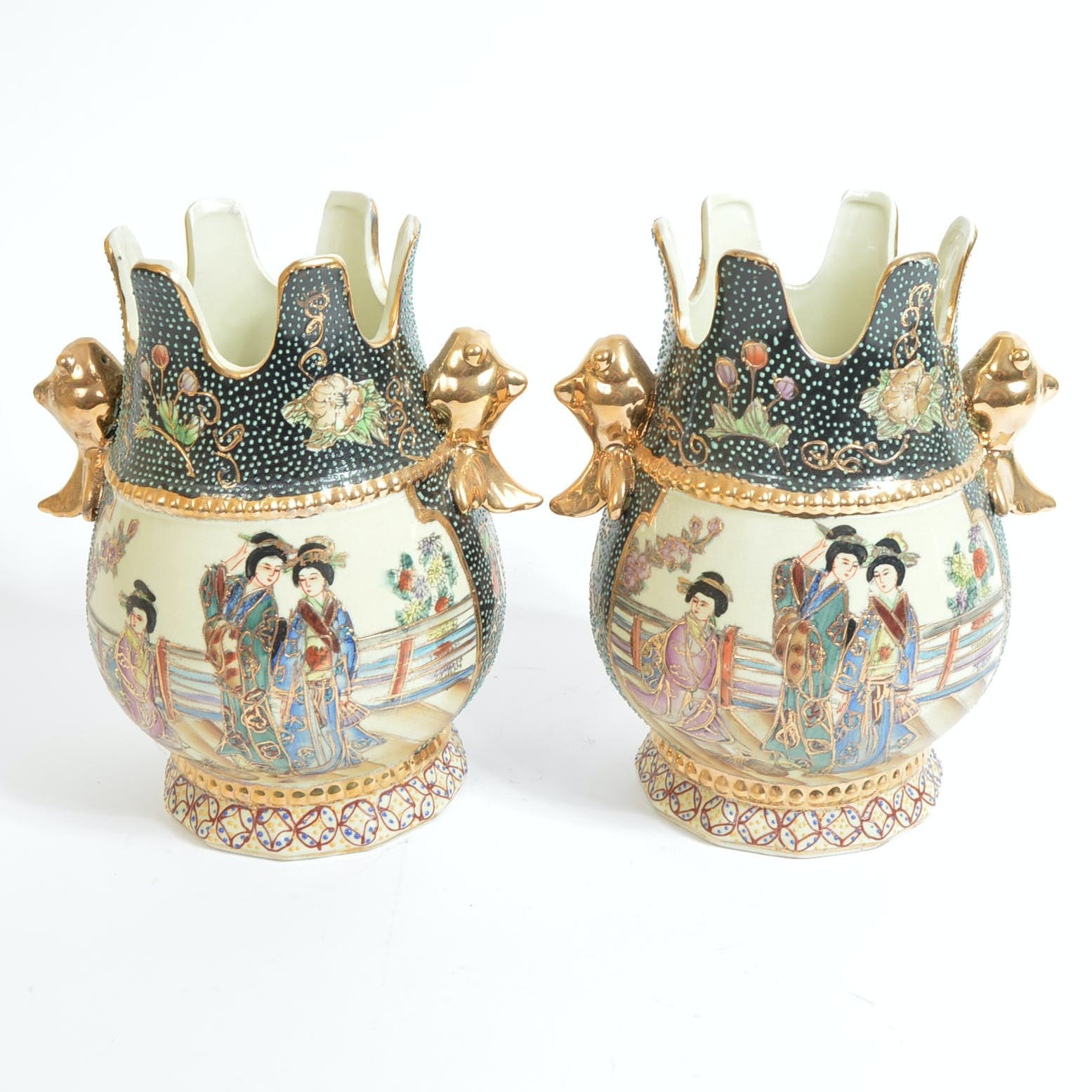 Chinese Hand Painted Royal Satsuma Style Vases