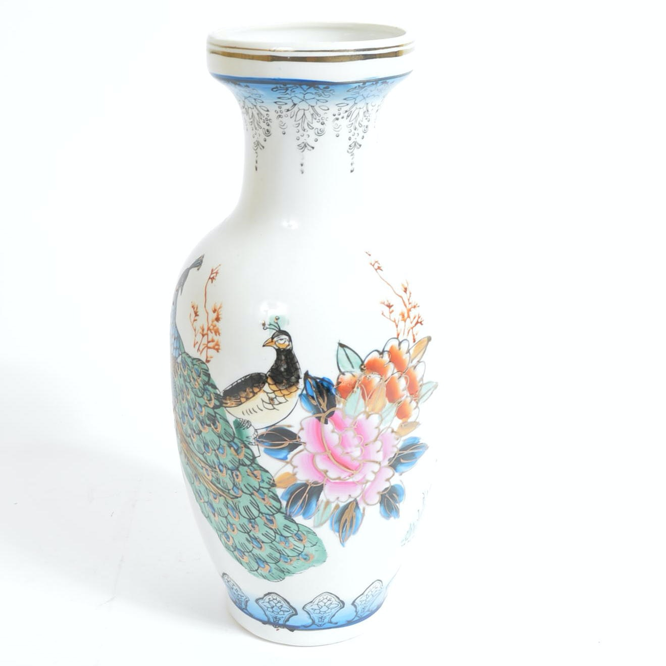 Chinese Vase with Hand Painted Accents