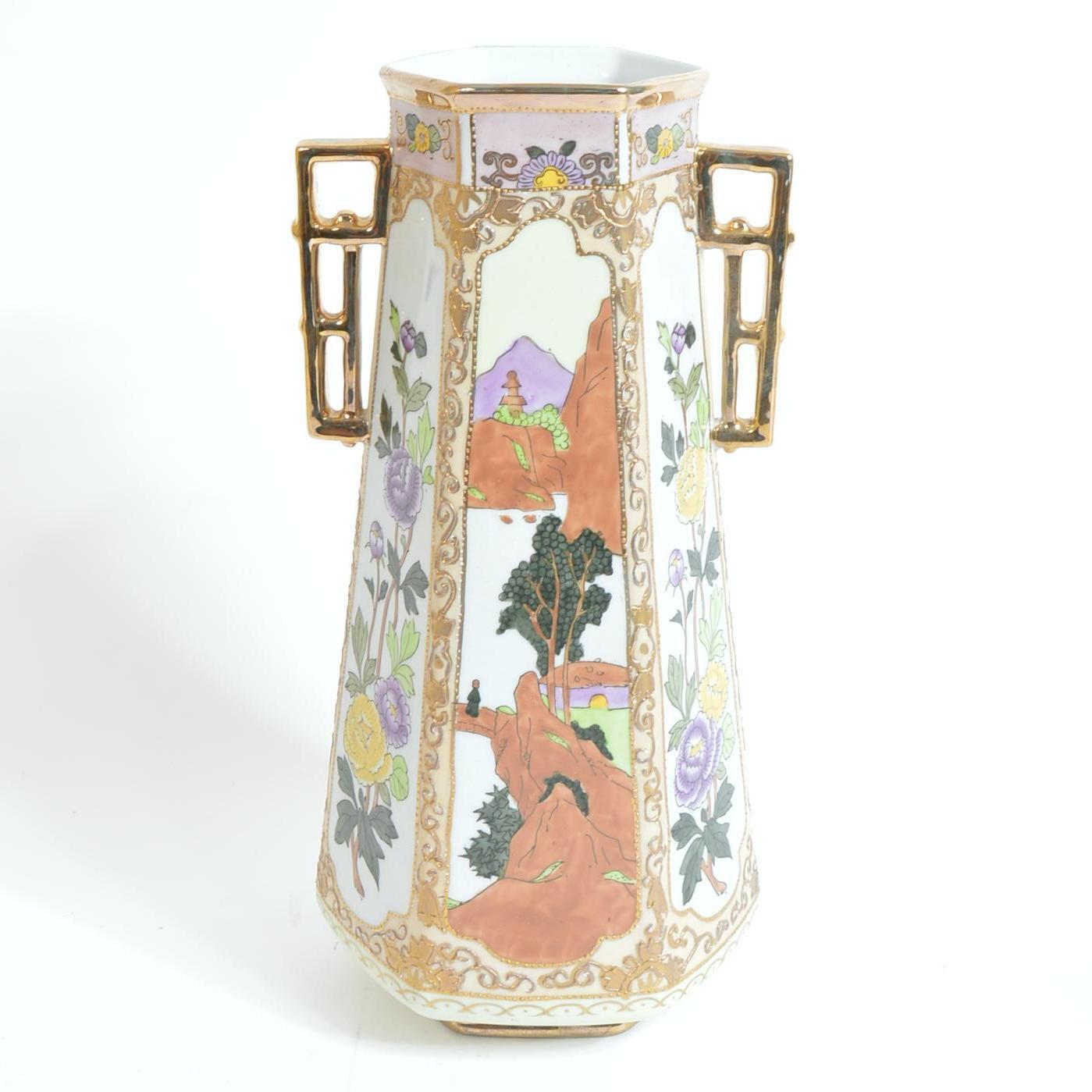 Morimura Bros Hand Painted Nippon Vase