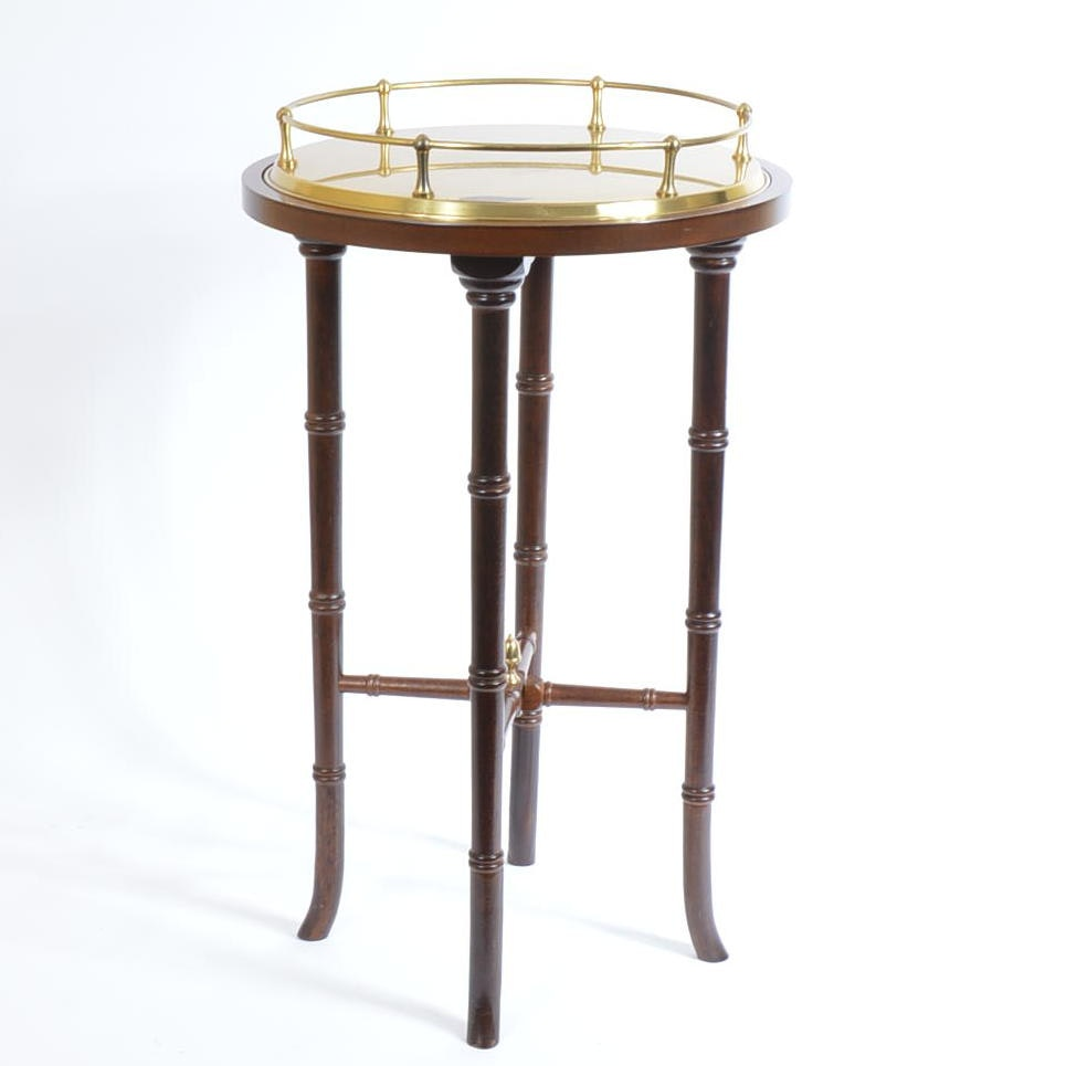 Brass Top Wooden Side Table