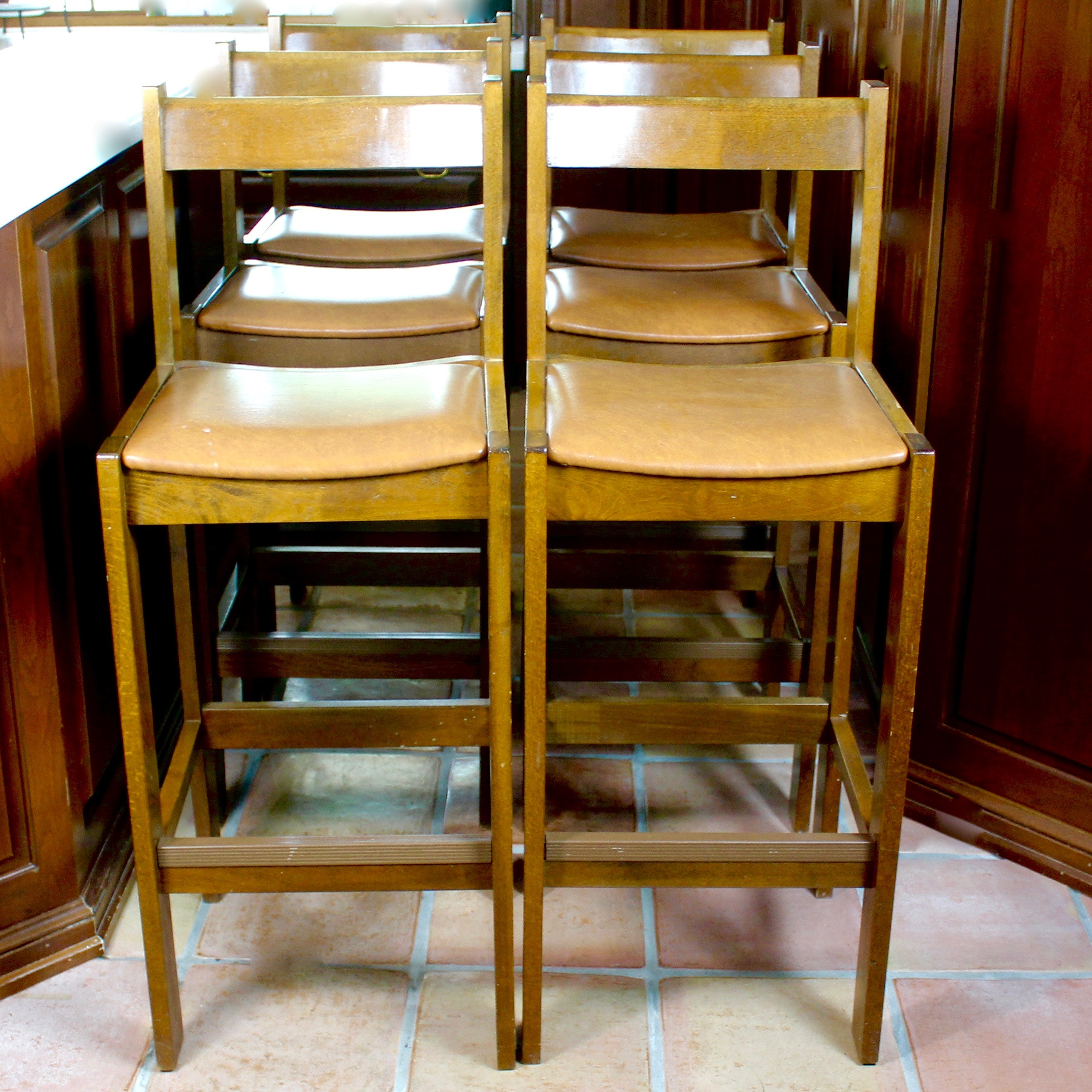 Set of Six Wooden Counter Chairs