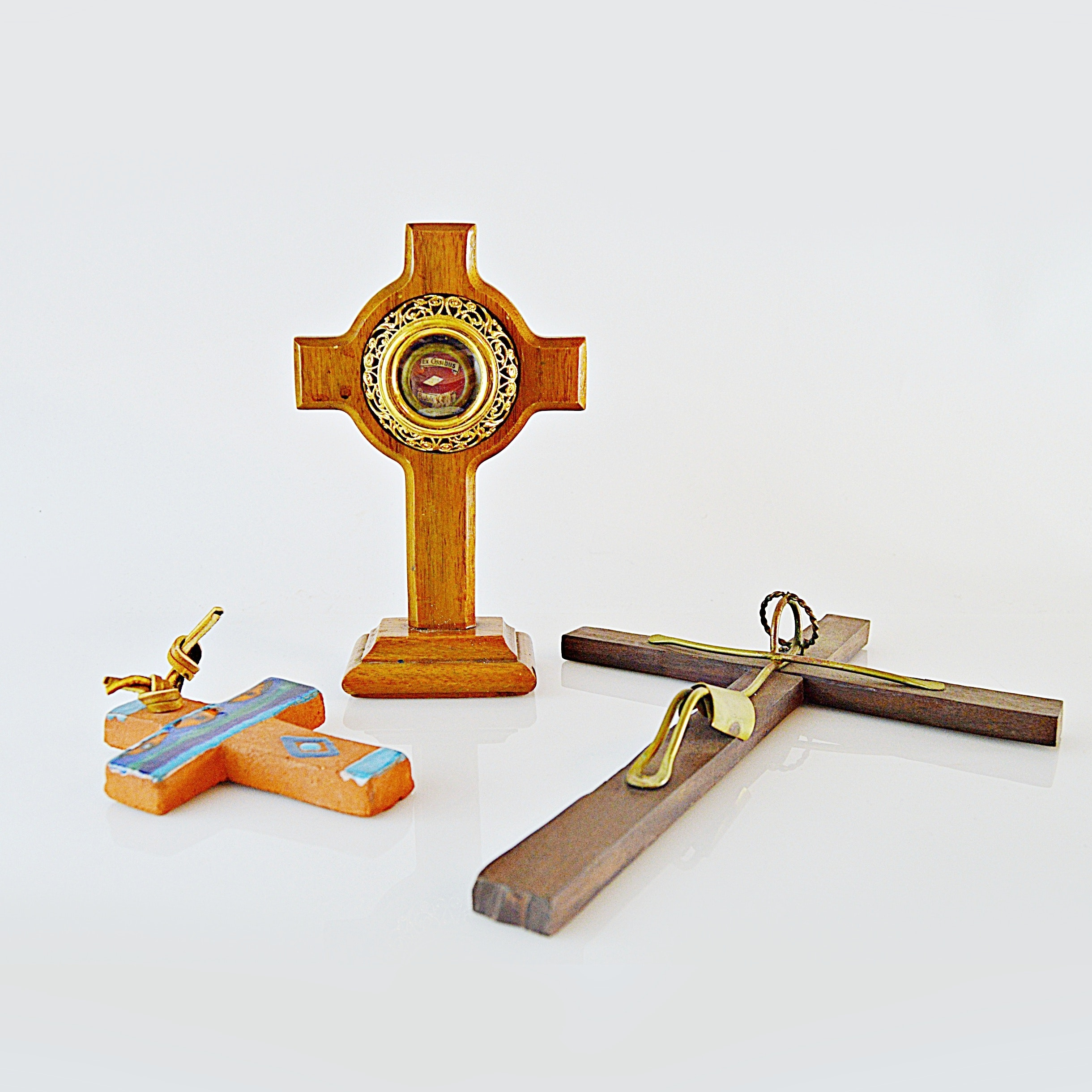 Three Crosses in Wood and Ceramic
