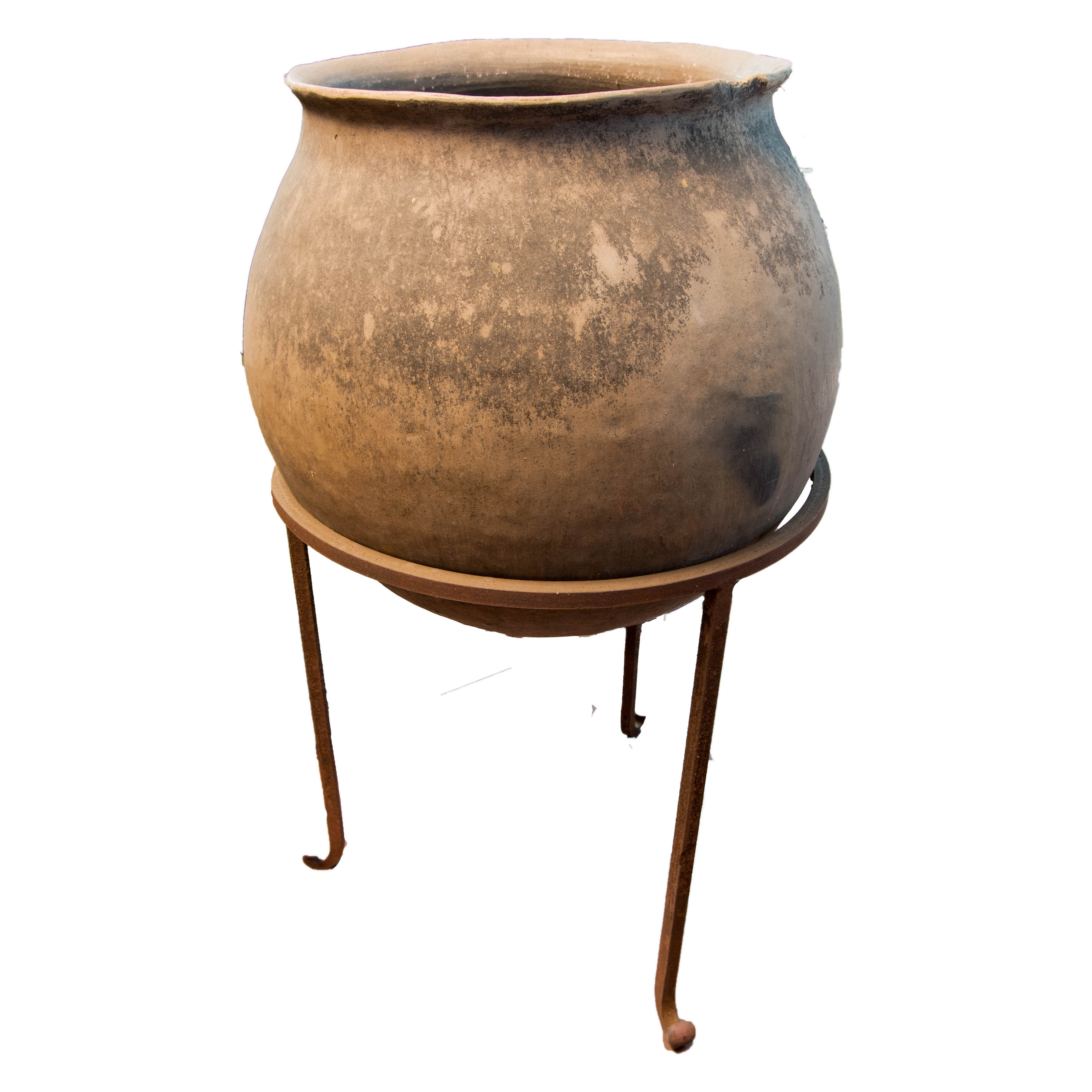 Ceramic Pot with Metal Stand