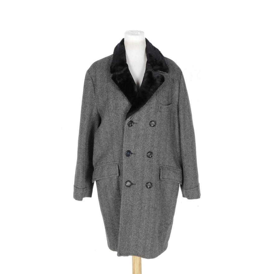 2cd6865e0730 Men s Vintage Grais Herringbone Wool Coat with Faux Fur   EBTH