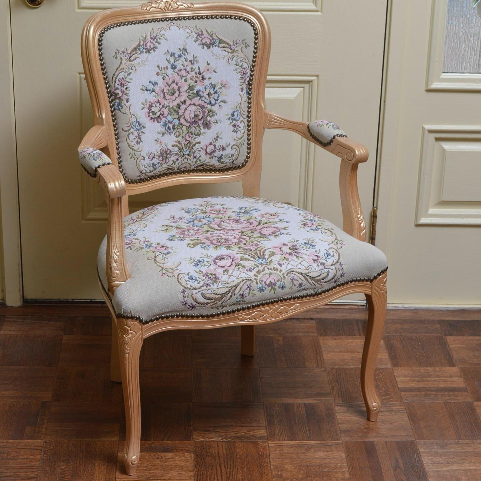 Vintage Queen Anne Style Armchair