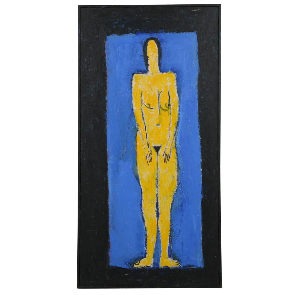 Ronald Ahlstrom Mixed Media on Canvas Abstract Nude Figure