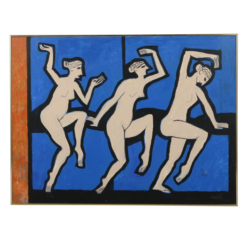 Ronald Ahlstrom Acrylic Painting on Board Abstract Nude Figures