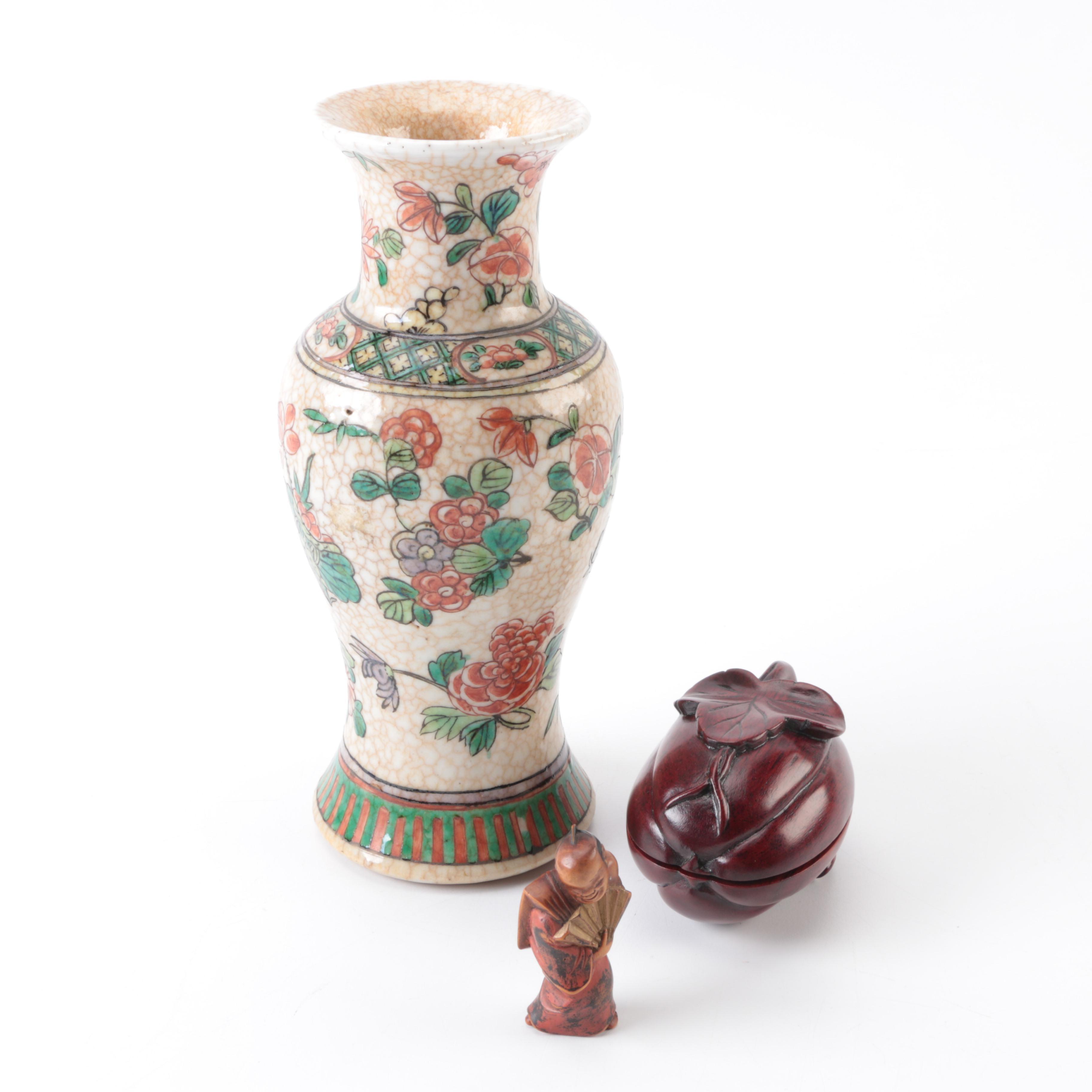 Chinese Ceramic Vase and Wooden Trinket Box