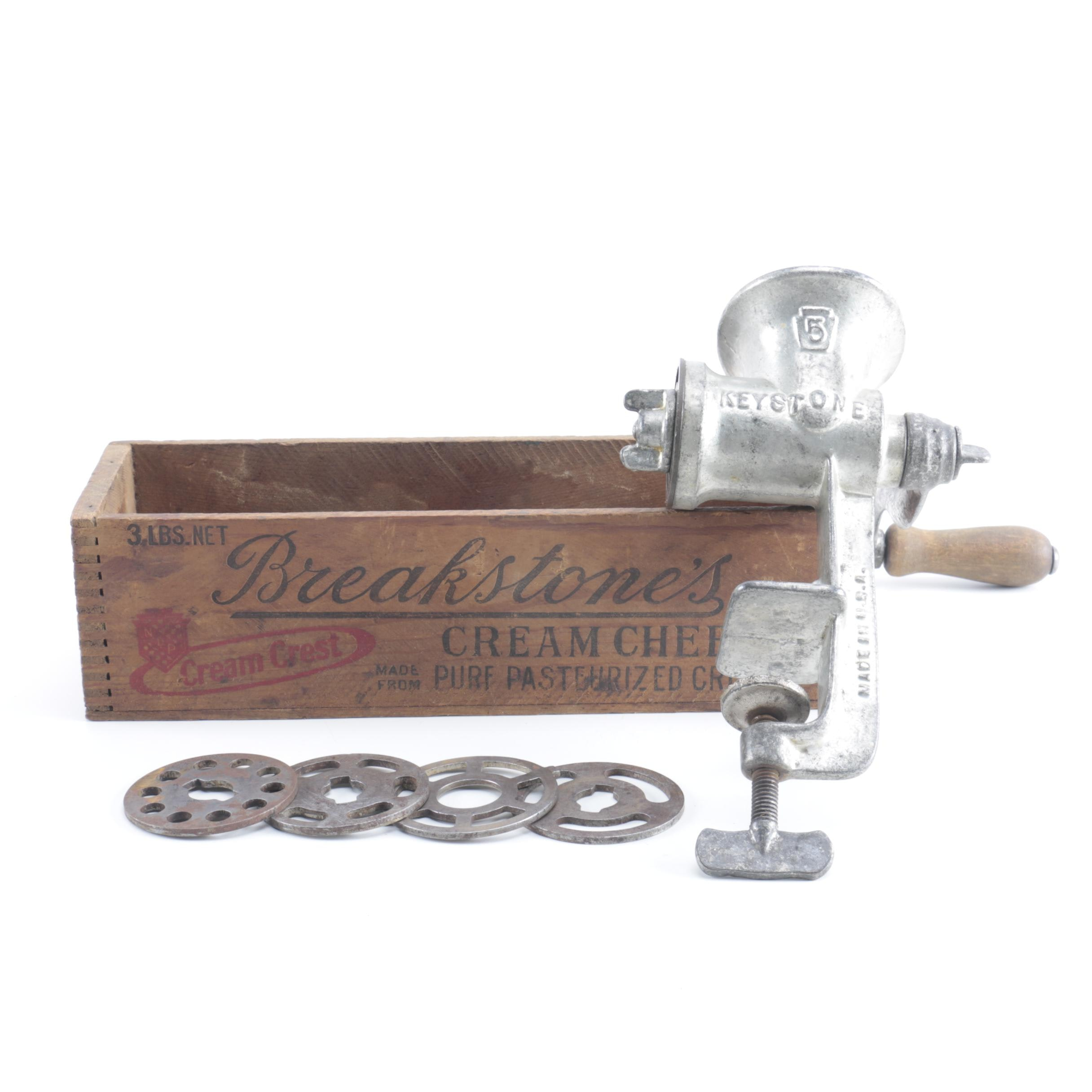 Keystone Meat Grinder With Breakstone's Wooden Crate