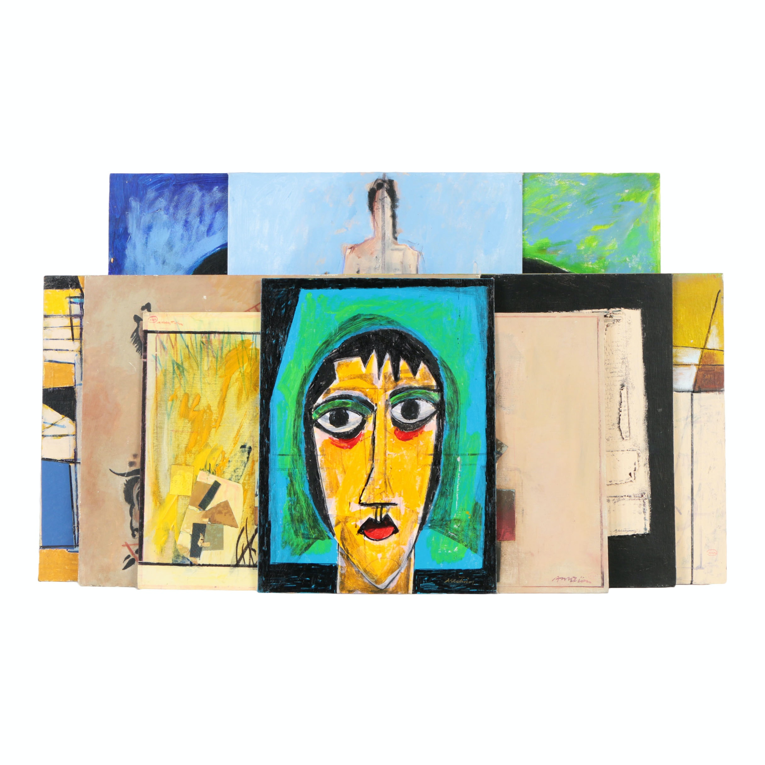 Assortment of Ronald Ahlstrom Mixed Media on Board Compositions