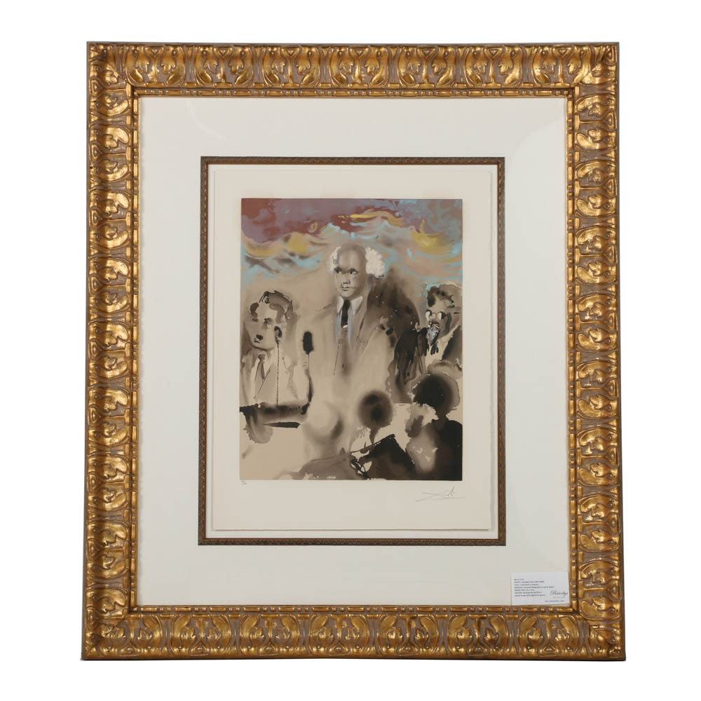 "Salvador Dali Signed Limited Edition Lithograph on Paper ""A Moment in History"""