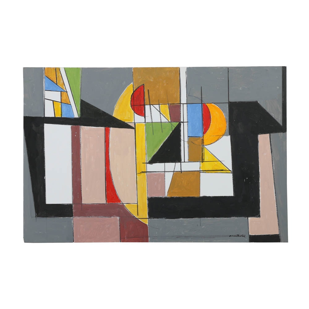 """Ronald Ahlstrom Abstract Acrylic Painting on Canvas Board """"Enigma III"""""""