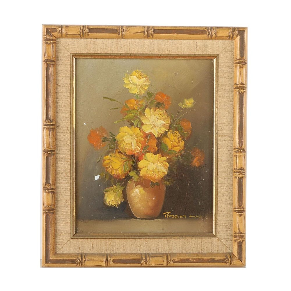 Robert Cox Oil Painting on Canvas Board of Yellow Roses