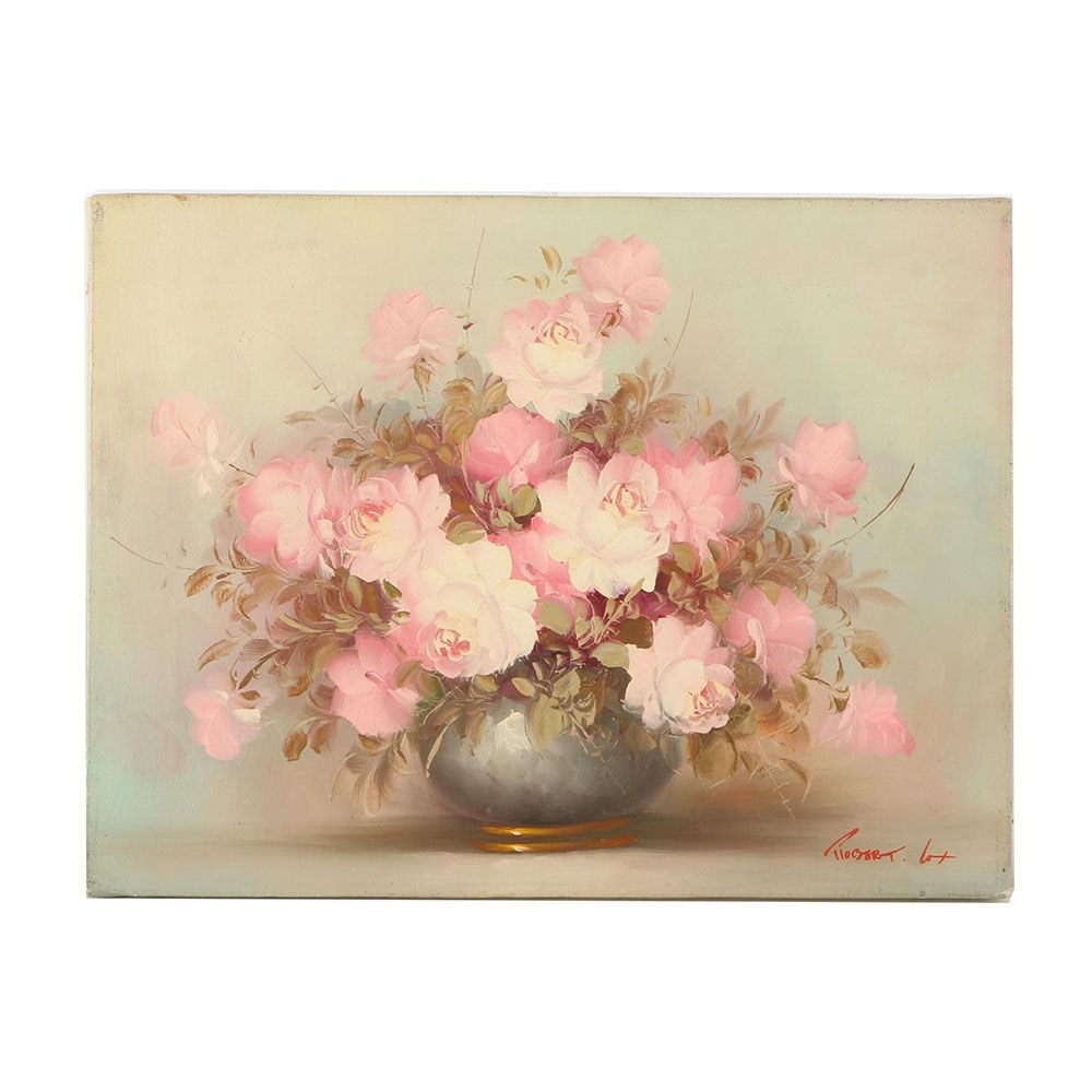 Robert Cox Oil Painting on Canvas of Pink Roses