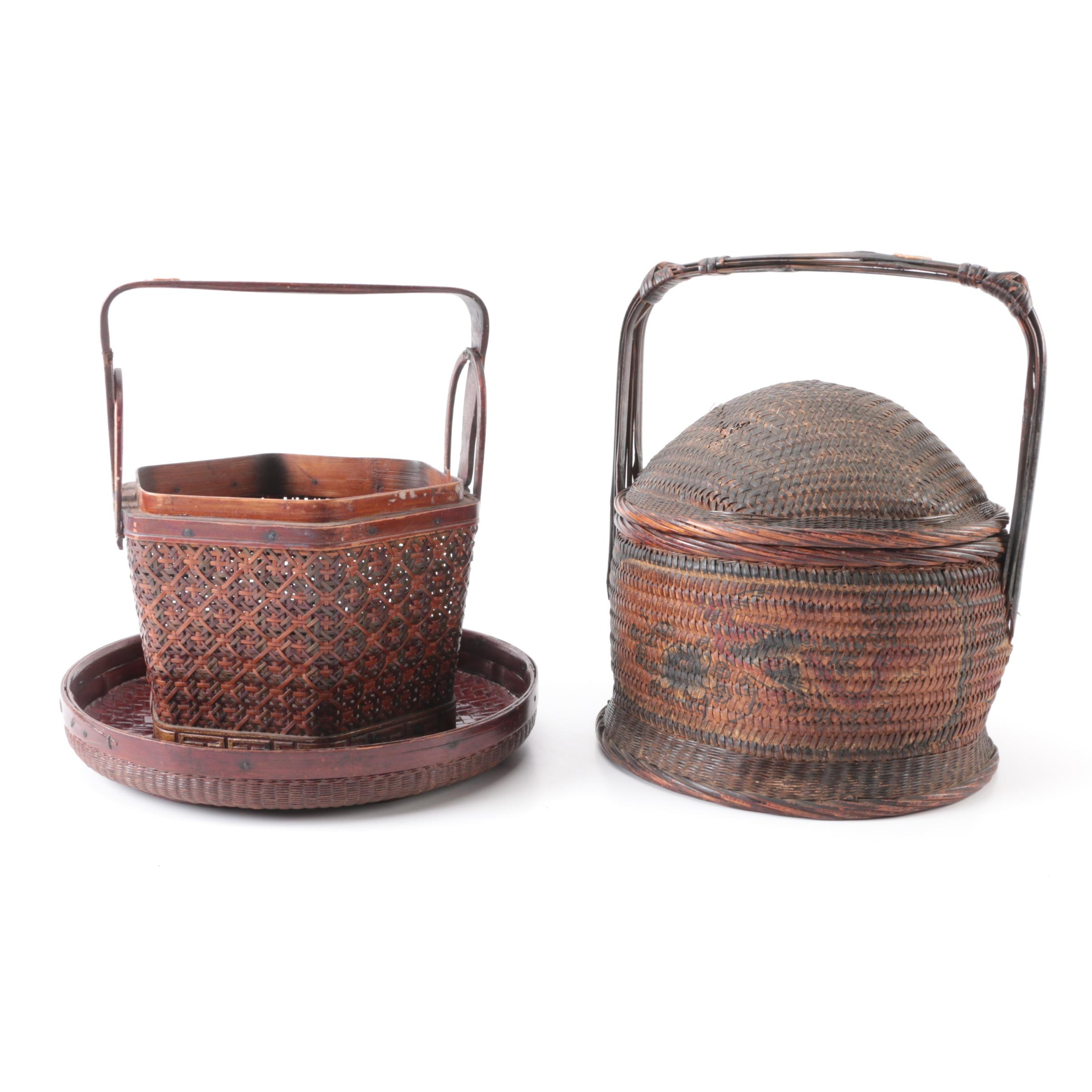 Vintage Chinese Rice Baskets and Winnowing Basket