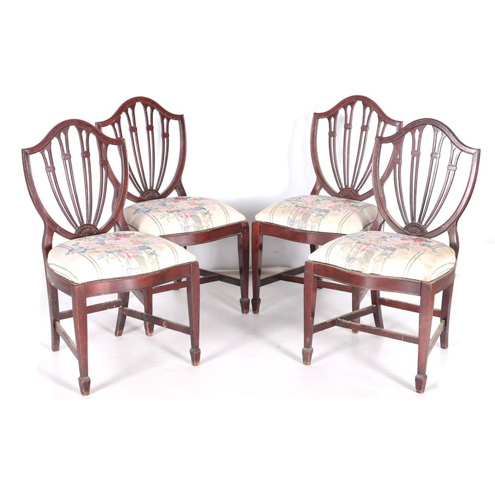 Vintage Hepplewhite Style Dining Side Chairs