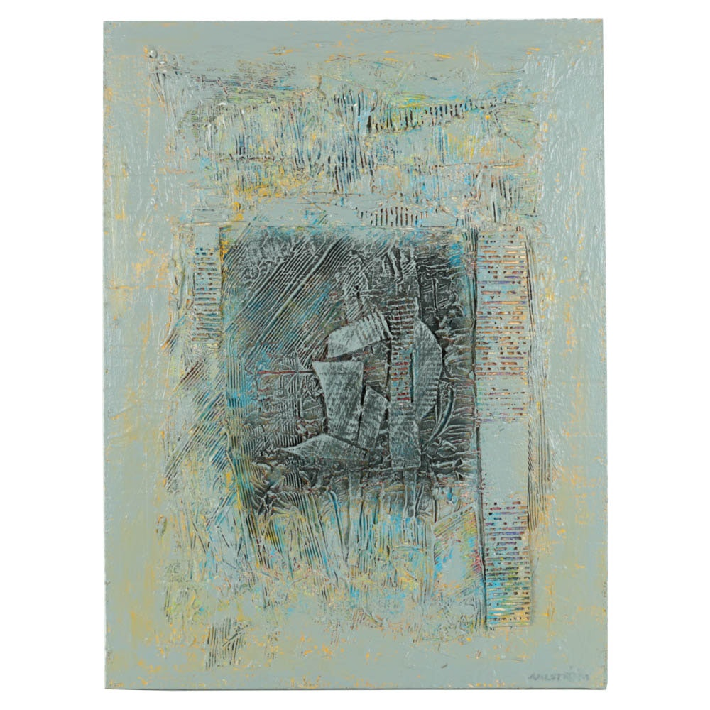 Ronald Ahlstorm Mix Media on Canvas Abstract Composition