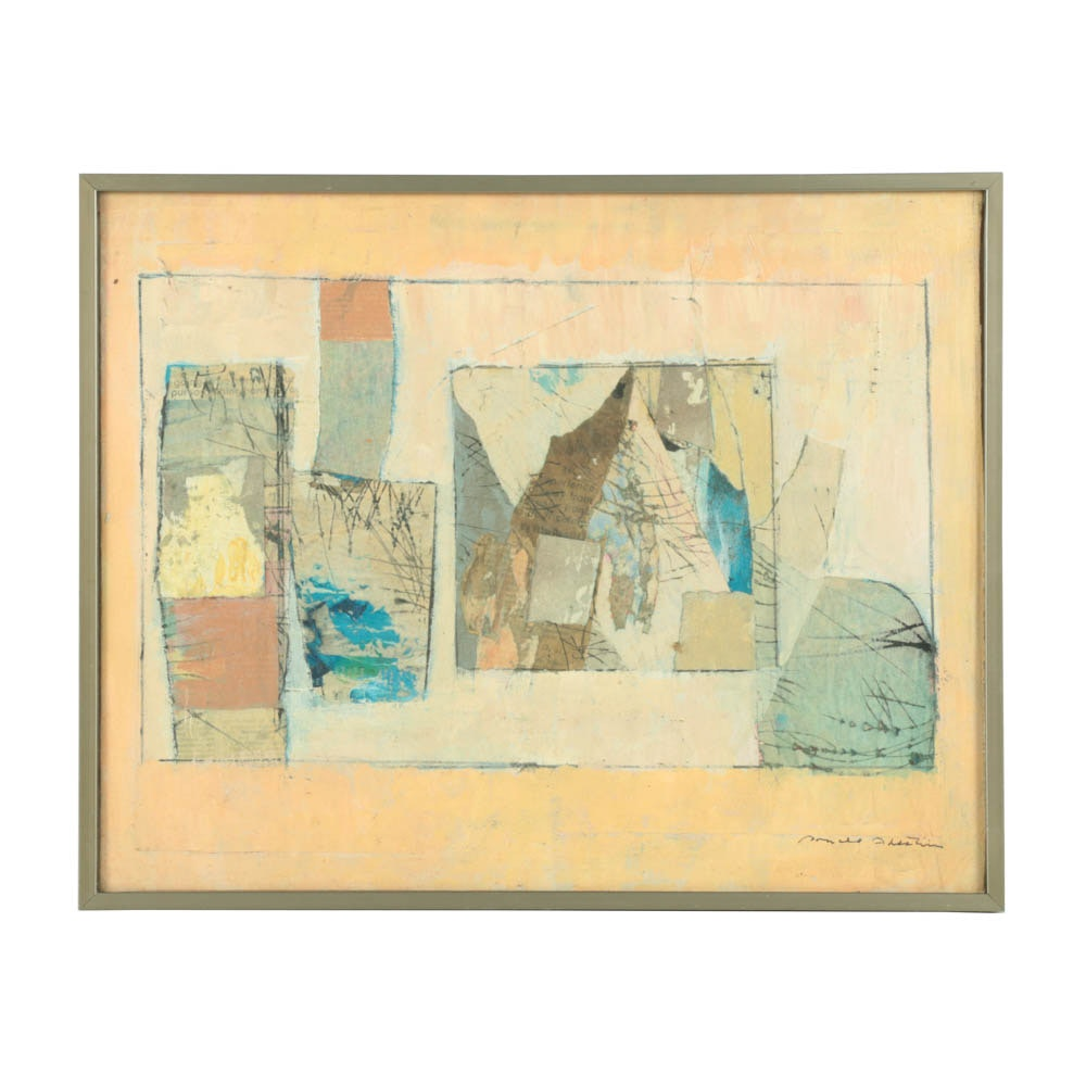 Ronald Ahlstrom Mixed Media Collage on Canvas B of Abstract Scene
