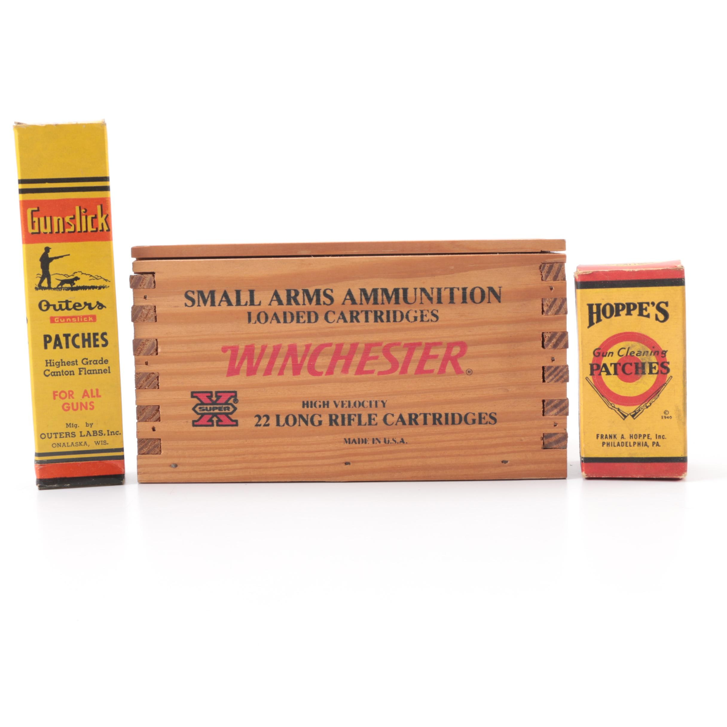 Winchester Wood Box and Gun Cleaning Patches