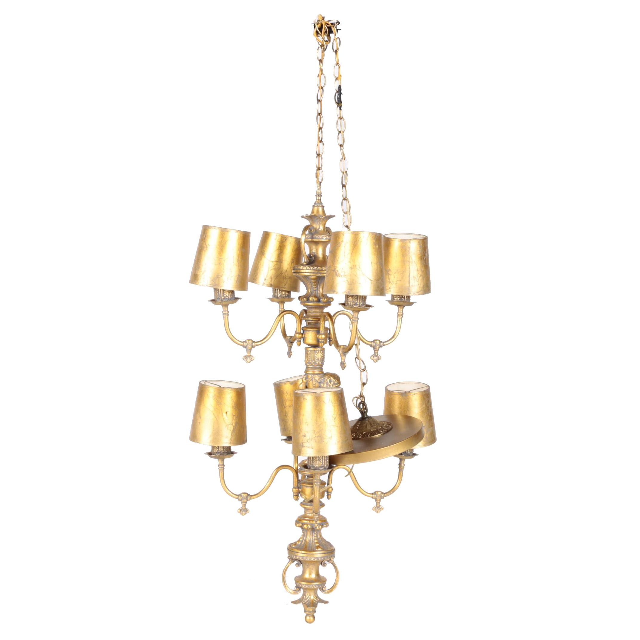 Ornate Gold Tone Chandelier With Putto Figural Stem