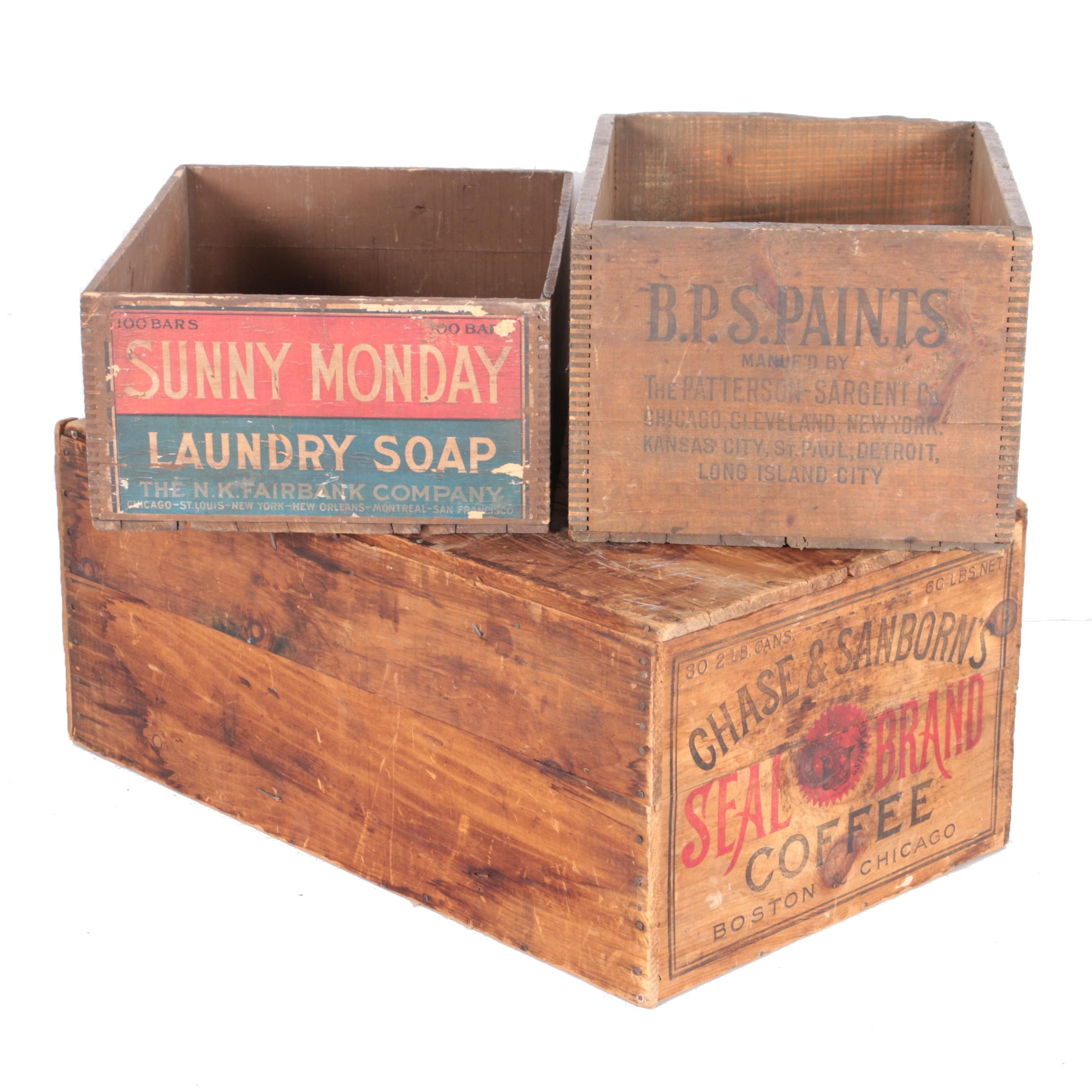 Three Vintage Wooden Boxes