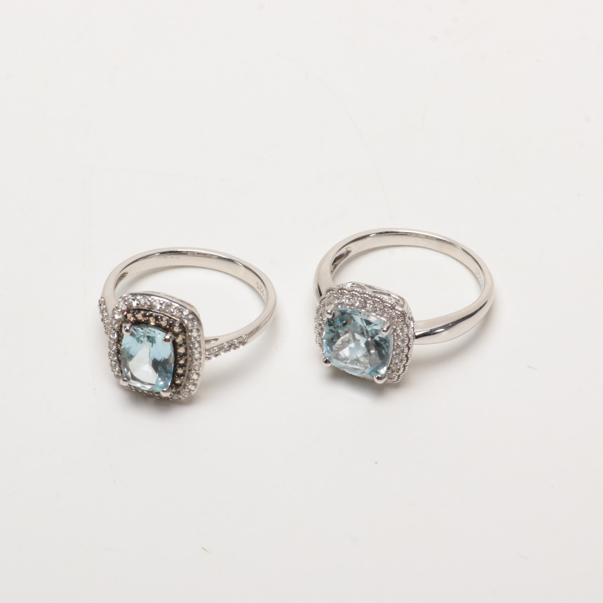 Sterling Silver and Aquamarine Rings