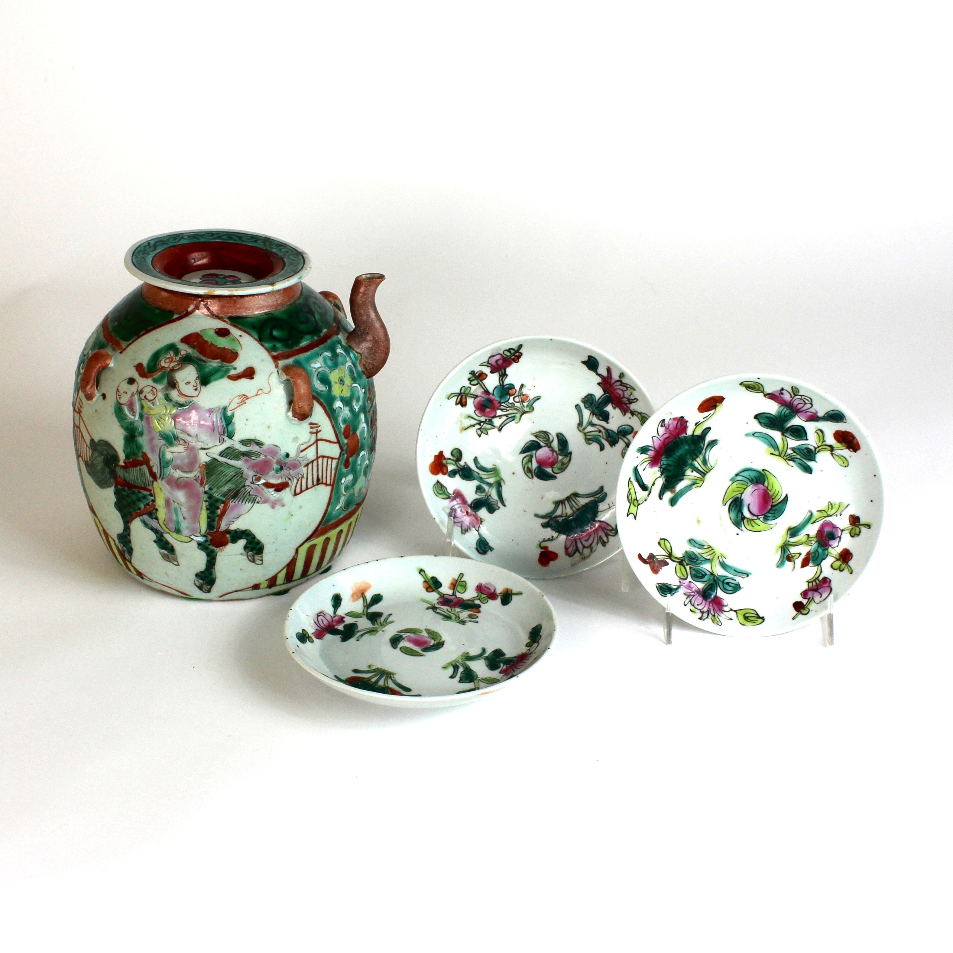Vintage Chinese Pottery Wine Jug and Hand Painted Dishes
