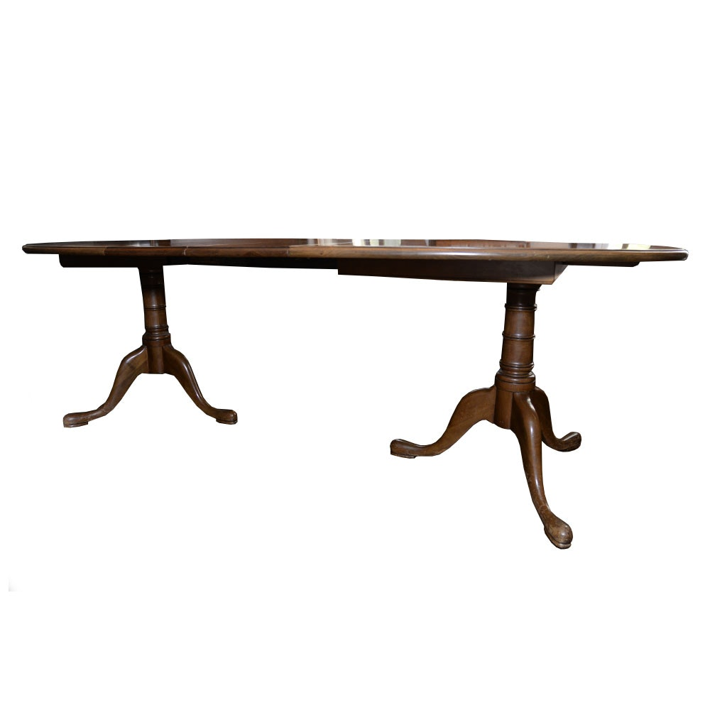Vintage Duncan Phyfe Inspired Walnut Dining Table With Leaf Inserts