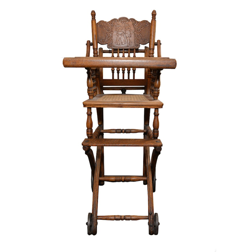 Antique Wooden High Chair with Rattan Bottom ... - Antique Wooden High Chair With Rattan Bottom : EBTH