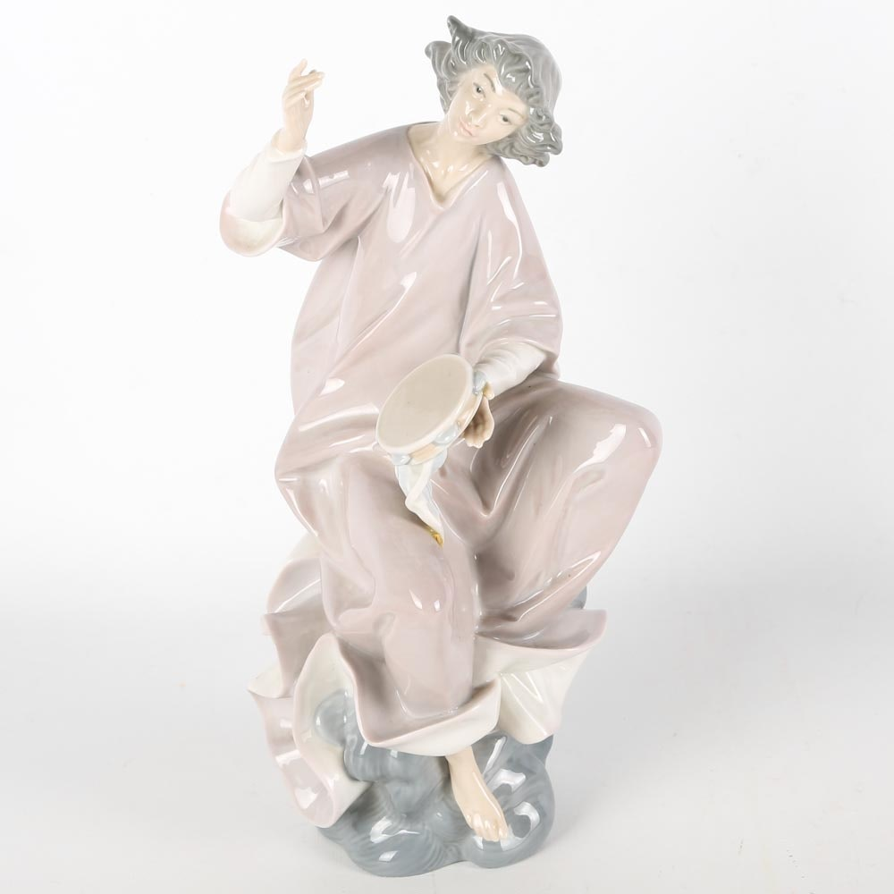 "Lladro Porcelain Figurine ""Angel with Tambourine"""