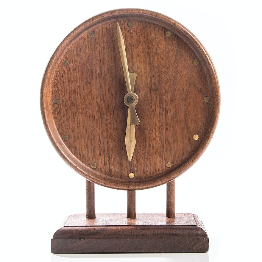 Mid Century Modern Teak Desk Clock